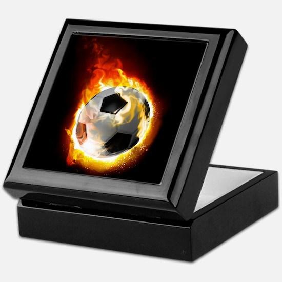 Soccer Fire Ball Keepsake Box