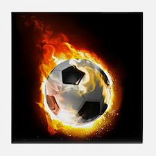 Soccer Fire Ball Tile Coaster
