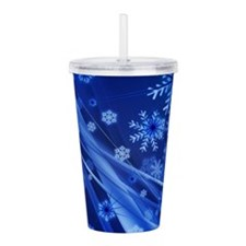 Blue Snowflakes Christ Acrylic Double-wall Tumbler