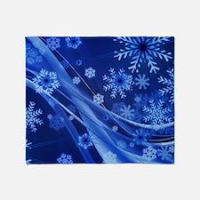 Blue Snowflakes Christmas Throw Blanket