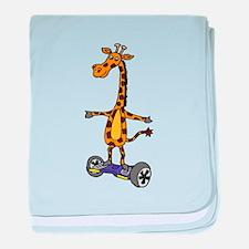 Funny Giraffe Using Segway Skateboard baby blanket