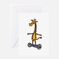 Funny Giraffe Using Segway Skateboa Greeting Cards