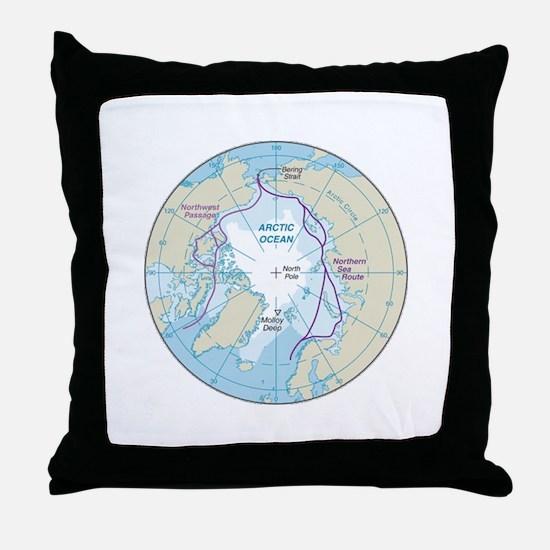 Arctic Circle Map Throw Pillow