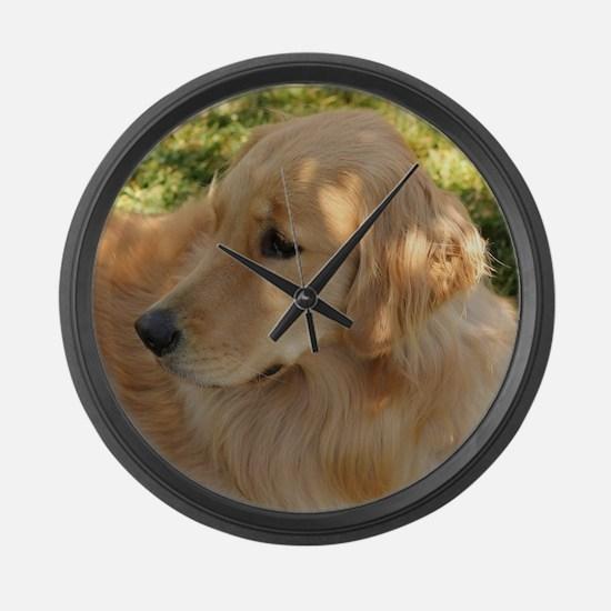 golden retriever grass Large Wall Clock
