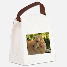 golden retriever grass Canvas Lunch Bag