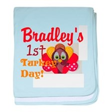childs personalize turkey day baby blanket