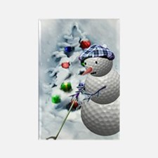Golf Ball Snowman xmas Rectangle Magnet
