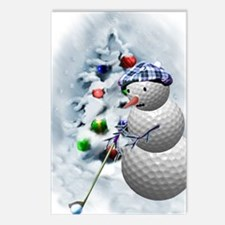 Golf Ball Snowman xmas Postcards (Package of 8)