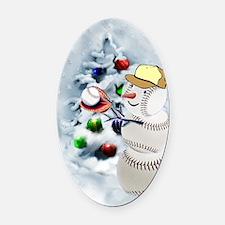 Baseball Snowman xmas Oval Car Magnet