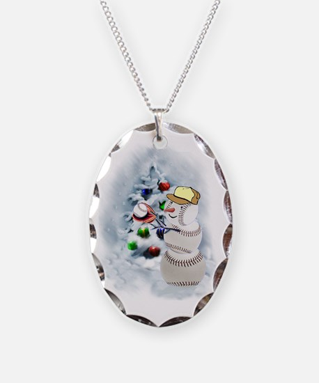Baseball Snowman xmas Necklace