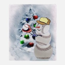 Baseball Snowman xmas Throw Blanket