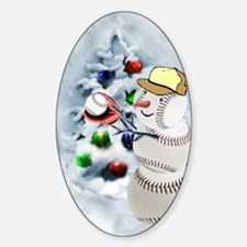 Baseball Snowman xmas Decal