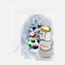 Baseball Snowman xmas Greeting Card