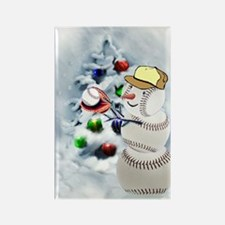 Baseball Snowman xmas Rectangle Magnet