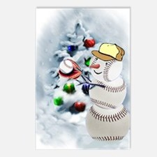 Baseball Snowman xmas Postcards (Package of 8)