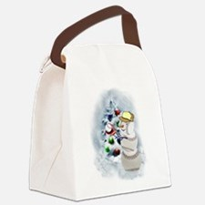 Baseball Snowman xmas Canvas Lunch Bag