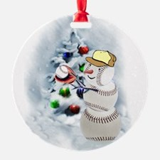 Baseball Snowman xmas Ornament