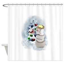 Baseball Snowman xmas Shower Curtain