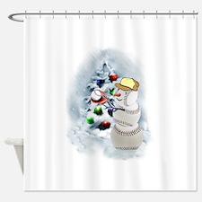 Baseball Snowman xmas Shower Curtain