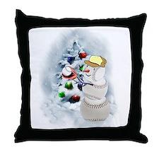 Baseball Snowman xmas Throw Pillow