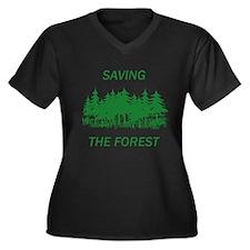 Funny Save trees Women's Plus Size V-Neck Dark T-Shirt