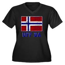 Uff Da Norwa Women's Plus Size V-Neck Dark T-Shirt