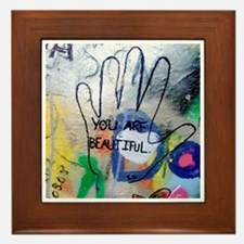 You Are Beautiful Graffiti Framed Tile