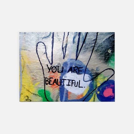 You Are Beautiful Graffiti 5'x7'Area Rug