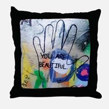 You Are Beautiful Graffiti Throw Pillow