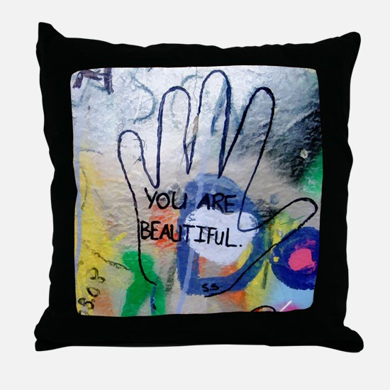 You Are Beautiful Graffiti Throw Pillow