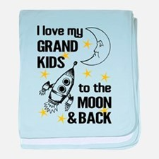 I Love My Grand Kids To The Moon And baby blanket