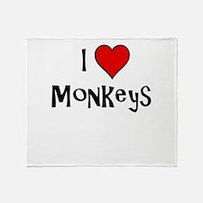 I Love Monkeys Throw Blanket
