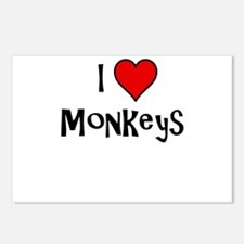I Love Monkeys Postcards (Package of 8)