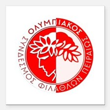 "Olympiacos FC 4 Square Car Magnet 3"" x 3"""
