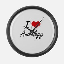 I Love Audiology artistic design Large Wall Clock
