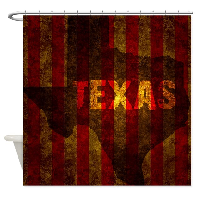 TEXAS Red Gold Vertical Shower Curtain By Admin CP129519821