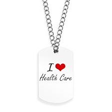 I Love Health Care artistic design Dog Tags