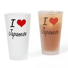 I Love Japanese artistic design Drinking Glass