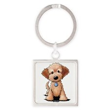 KiniArt Goldendoodle Puppy Square Keychain