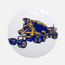 Cement Truck Rear Woodcut Round Ornament
