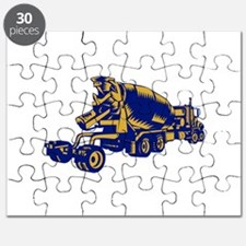Cement Truck Rear Woodcut Puzzle