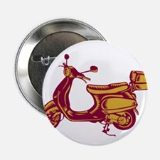"Scooter Bike Side Vintage Woodcut 2.25"" Button (10"