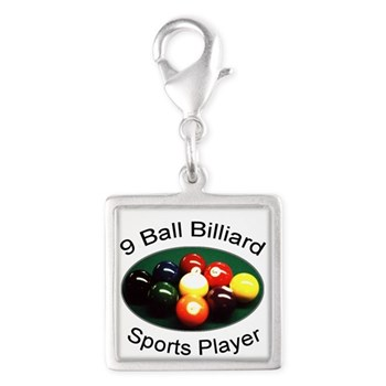 9 Ball Billiard Sports Player Silver Square Charm