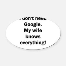 I don't need Google. My wife knows Oval Car Magnet