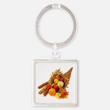 Thanksgiving Cornucopia Square Keychain