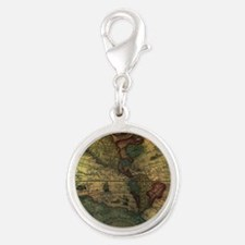 Ancient Map Silver Round Charm
