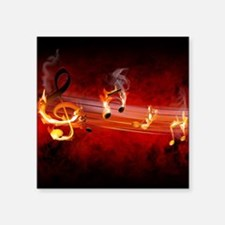 "Hot Music Notes Square Sticker 3"" x 3"""