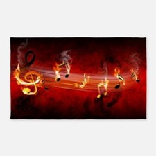 Hot Music Notes Area Rug