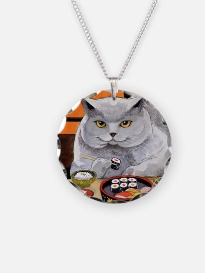 "Sushi Cat ""Big Fred"" Necklace Circle Charm"