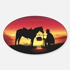 Cowboy and Horse at Sunset Decal